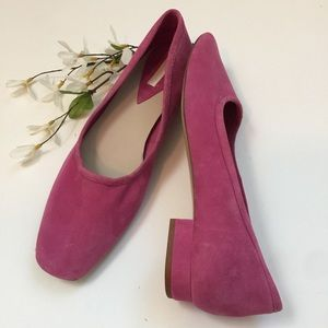 H&M Pink Suede Heels Squared Toe Size 9.5
